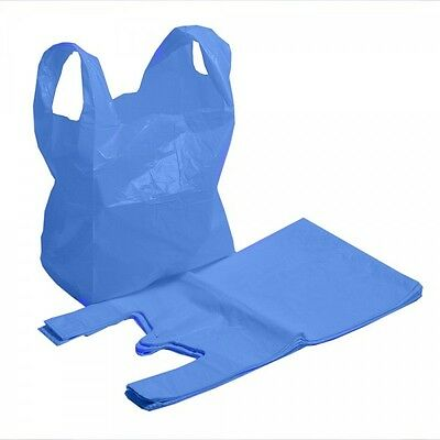 """100 x New Strong MEDIUM size BLUE Plastic Vest Carrier Bags 11""""x 17""""x 21"""" OFFER"""