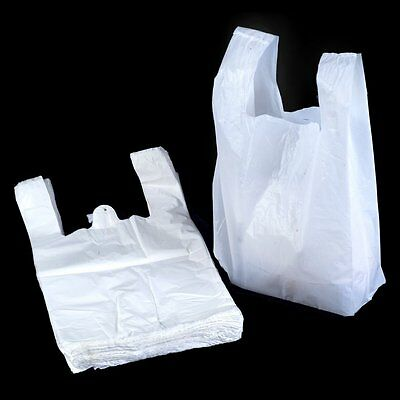 "100 x Extra Strong LARGE JUMBO WHITE Plastic Vest Carrier Bags 13""x 19""x 23"""