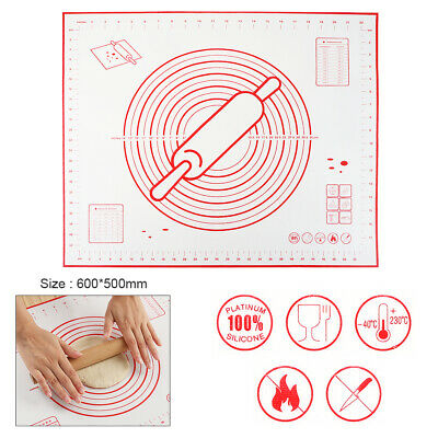 60 x 50cm Silicone Cake Mat Baking Dough Pastry Pad for Fondant Rolling Baking