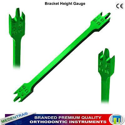Dental Ortho Bracket Height Gauge Braces Positioning Green Anodized Aluminum CE
