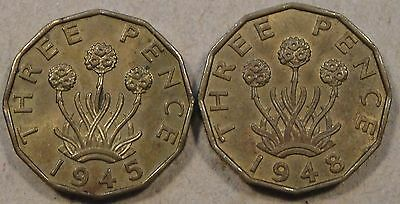 Great Britain 2 Brass Three Pence 1945+48 Better Grade Coins