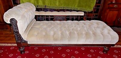 Antique Victorian CHAISE LONGUE lion mask oak carved buttoned beige velvet 6'