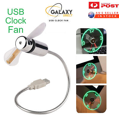 USB Clock Fan PC/Laptop/Portable Flexible LED Clock Fan