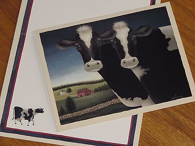 Lowell Herrero Art - TWO COWS - vtg 1993 Lang 5x6 Note Cards 5ct