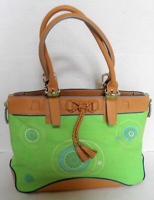 Franklin Covey Green Canvas With Leather Trim Handbag Tote Used