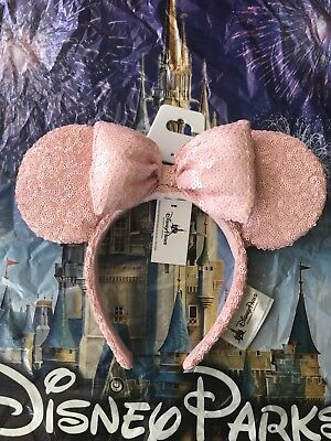 NEW 2018 Disney World Parks Millenial Pink Sequin Bow Minnie Ears Headband
