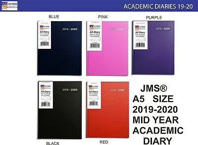 JMS® 2019-2020 A5 Size Day A Page Mid Year Academic Hardback Diary