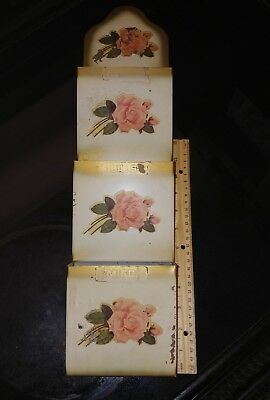 Shabby Chic 50s/60s CABBAGE ROSES Tin CHIPPY Cream Tole LETTER HOLDER Wall SHELF