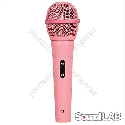 Soundlab Dynamic Vocal Microphone With Lead in Pink