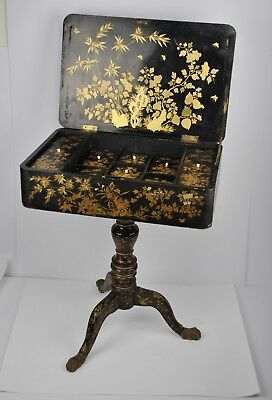 19th c. Antique Chinese sewing table, gilt, black lacquer , furniture