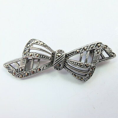 Fabulous Quality Antique Art Deco Silver & Marcasite Bow Brooch