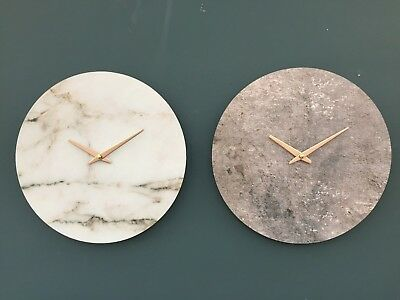 Slate or Marble Effect Wooden Wall Clock with Rose Gold Pointers 33 cm