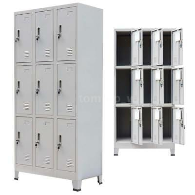 Locker Cabinet Steel 9 Compartment Office School Gym Sports Changing Room H6I9
