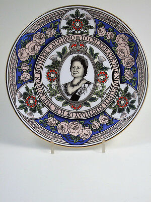 """CAVERSWALL Queen Mother 90th Birthday 1990 - 9"""" COMMEMORATIVE PLATE"""