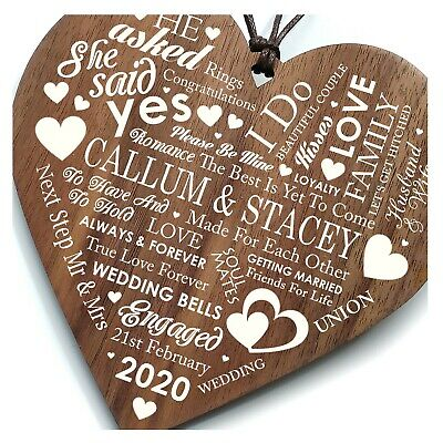 Congratulations Personalised Engagement Gift Wooden Heart Plaque Sign Fantastic
