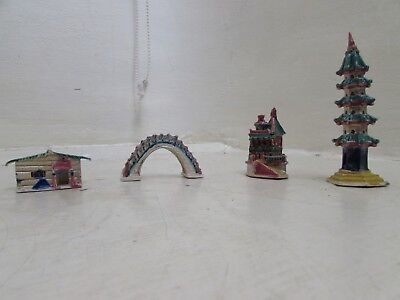 Original Vintage Chinese Shiwan Mudman Houses, Temple, Bridge, Bonsai Ornaments