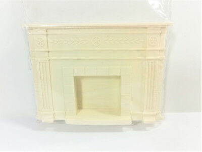 Dollhouse Miniature Small Cast Poly Resin Fireplace with Mantel 1:12 Scale