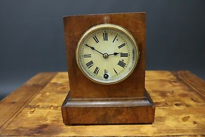Antique W & H Sch Mantle Clock German Black Forest Walnut Veneer