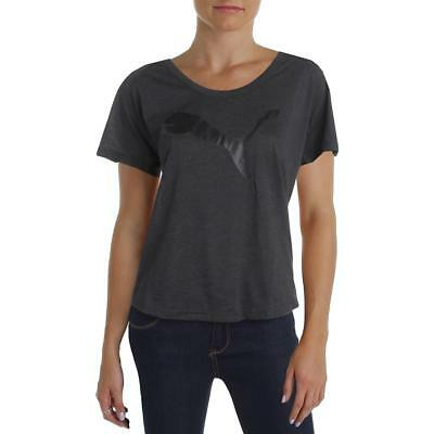 Puma 7454 Womens Gray Graphic Relaxed Fit Short Sleeve T-Shirt Top XS BHFO
