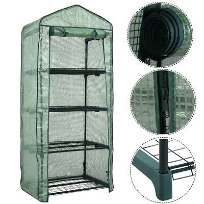 Portable Garden Backyard House Plants Mini 4 Shelves Warm Greenhouse Green New