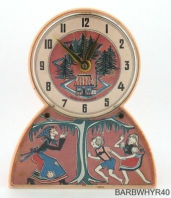 Old Hansel and Gretel Music Box Character Alarm Clock Plays Moulin Rouge Rare