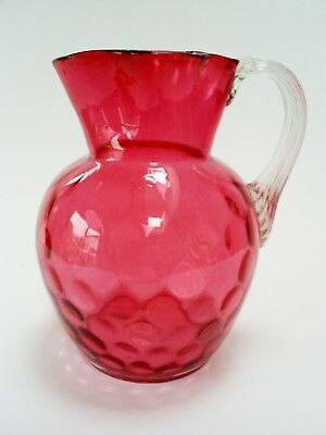 Lovely Antique Victorian Inverted Thumbprint Cranberry Glass Jug/pitcher