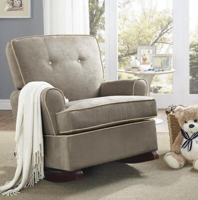 Admirable Dark Taupe Rocker Rocking Chairs Nursery Baby Relax Arm Bralicious Painted Fabric Chair Ideas Braliciousco