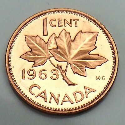 1963 Canada 1 One Cent Copper Penny Canadian Circulated Coin F021