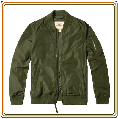 NWT HOLLISTER by Abercrombie Men's Olive Bomber Jacket XL