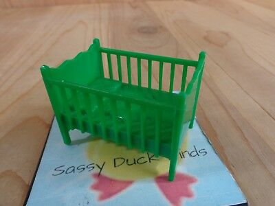 Vintage Dollhouse Furniture Nursery BABY CRIB Green Plastic Marx
