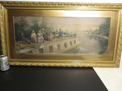"""Antique chromolithograph by E.L.Henry """"relaxing through the canal"""" gold frame"""