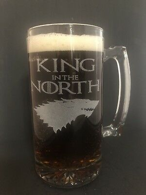 KING in the NORTH Beer MUG Engraved 25oz Glass Game of Thrones Jon Snow Stark