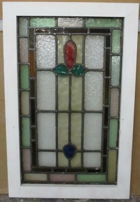 MID SIZE OLD ENGLISH LEADED STAINED GLASS WINDOW Nice Border Floral 17.5 x 27.5""