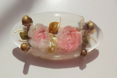 Vtg Art Deco Lucite Hand Carved Reverse Victorian Pink Roses Flowers Pin Brooch