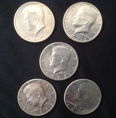 1973 President John F. Kennedy Half Dollar Usa Coin  -Lot Of 5 Coins-