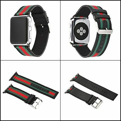Apple Watch Band Strap Replacement Wrist Brace Gucci Pattern 42mm RedGreenBlack