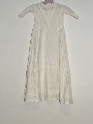 Victorian White Cotton Baby Dress w Hand Embroidery / Great Doll Dress