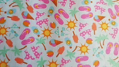 Sunshine, Ice Cream, Sandals & More on Blue ~ 100% Cotton ~ Sold BTY