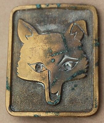 Rare Vintage Fox Wolf Animal Belt Buckle Made for Gallery Art Metal 3x2""