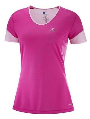 Salomon Trail Runner Womens Short Sleeve Running Tee S18 - Pink Yarrow/White