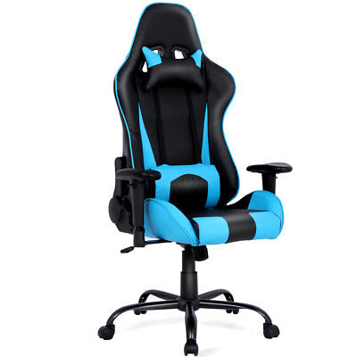 Gaming Chair Racing High Back Office Chair w/ Lumbar Support and Headrest Blue