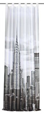 "Home fashion 48639-896 - Tenda con passanti e stampa ""New York"", 245 x 120 cm, c"