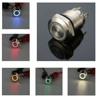 stainless steel momentary button LED Silver 4 Pin