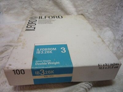 100 X ILFORD Multigrade Photo Paper  velvet stipple 16.5cm 21.6cm  IB 3 26K VIEW