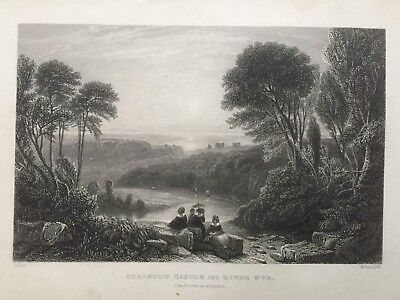 1836 Antique Print; Chepstow Castle and River Wye after David Cox