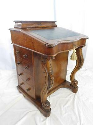 A GOOD ANTIQUE 19thC WALNUT WRITING DAVENPORT DESK-FREE 30 MILE RADIUS DELIVERY