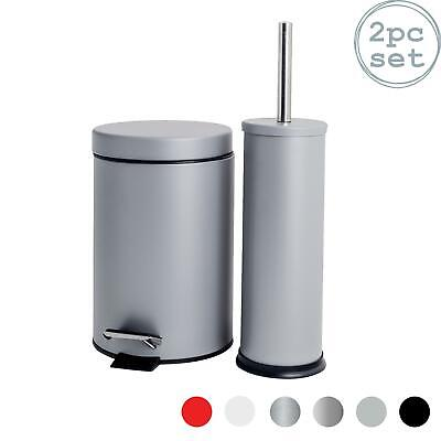 Bathroom Pedal Bin & Discreet Toilet Brush / Holder Set - Grey Finish