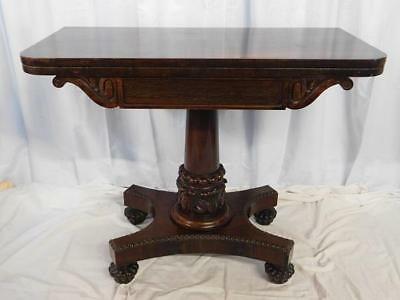 A GOOD EARLY 19th CENTURY ANTIQUE ROSEWOOD SIDE CARD OR GAMES TABLE