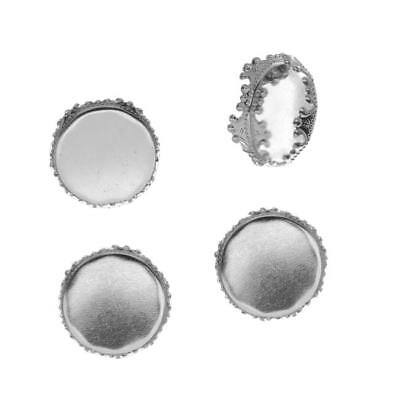 Bright Silver Tone Round Bezel Cup Cabochon Crown Top Setting 16mm (4)