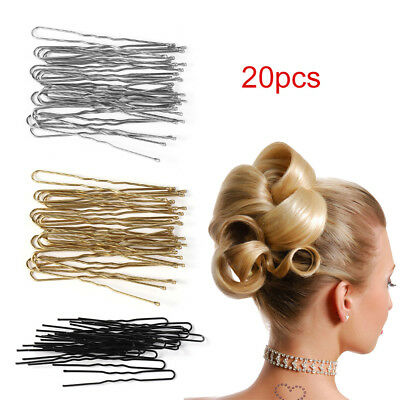 20Pcs Women U Shaped Hairpin Hair Clips Bobby Pins Metal Barrette Dish Tools